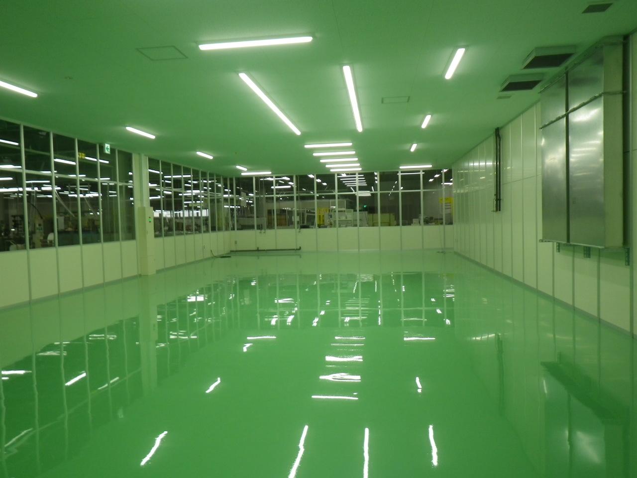 工場塗り床に伴う床下地補修工事